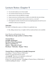 Lecture Note for MGTA03, Lecture 9