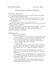Dynasty, Territory & Religion in England