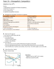 ECO101H1 Lecture Notes - Monopolistic Competition, Oligopoly, Perfect Competition