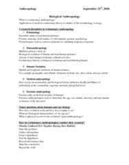 ANT100Y1 Lecture Notes - Gregor Mendel, Carl Linnaeus