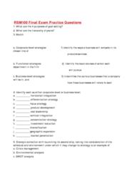RSM100 Final Exam Study Questions