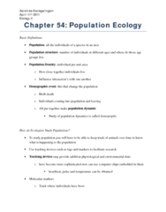 Chapter 54 Population Ecology