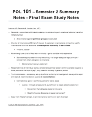 POL101 Final Exam Semester 2 Lecture Summary Notes Study Guide
