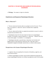 CHAPTER 17: THE NATURE AND CAUSES OF PSYCHOLOGICAL DISORDERS - TEXTBOOK NOTES