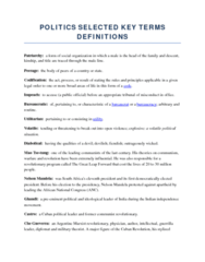 POLITICS SELECTED KEY TERMS DEFINITIONS FOR FROM LECTURES FOR FINAL