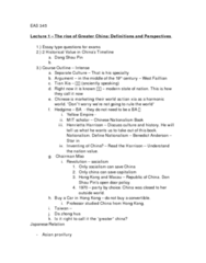 EAS100Y1 Lecture Notes - Tianxia, Greater China, Papaver Somniferum