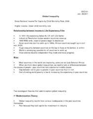 SOC101Y1 Lecture Notes - International Inequality, Gross National Income, Sub-Saharan Africa