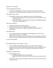 Chapter 18 summary notes Chapter 18–Partnerships and Trusts Summarized version of chapter 18 to quickly read through and understand. Useful for reading over before exams and as a refresher.
