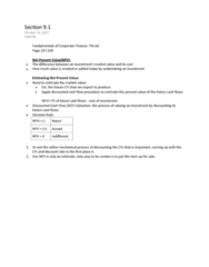 Section 9.1-> Net Present Value