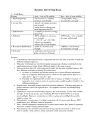 Chem2213A Final Exam Notes