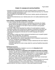 Psychology 2042A/B Chapter Notes - Chapter 10: Speech Disorder, Language Processing In The Brain, Reading Disability