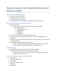 Human Impacts on Natural Systems and Human Health