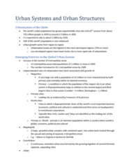 Urban Systems and Urban Structures