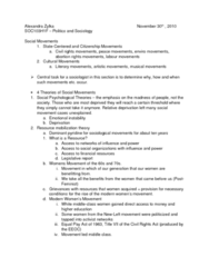 SOC103H1 Lecture Notes - Resource Mobilization, Abortion-Rights Movements, Mattachine Society