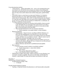 PSYC 436 Lecture Notes - Gender Dysphoria, Magnus Hirschfeld, Cross-Dressing