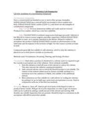 Chemistry 1100A Lab Summaries