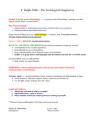 mills sociological imagination summary