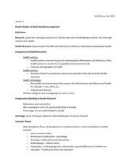 HLTA10 Lecture 2 & Tutorial 1 Discussion Questions -- A Multidisciplinary Approach