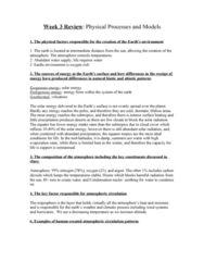 Week 3 Lecture Notes: Physical Processes and Models