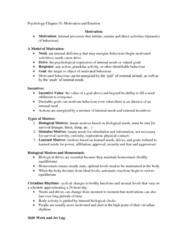 PSYC 1F90 Chapter Notes - Chapter 10: Kinesics, Parasympathetic Nervous System, Motivation