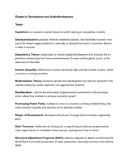 CHPT 9 DEVELOPMENT AND UNDERDEVELOPMENT TEXT AND LECTURE STUDY NOTES .doc