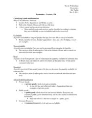 Economics 1021A/B Lecture Notes - Private Good, Fish Farming, Marginal Utility