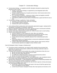 BIOL 3010 Lecture Notes - Endangered Species, Conservation Biology, Species Richness