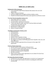 WMST 101 Lecture Notes - Age Of Enlightenment, Feminist Movement