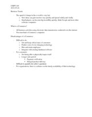 CMPT 100 Lecture Notes - Eworld, E-Commerce