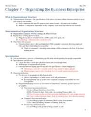 BUS 100 Lecture Notes - Departmentalization, Organizational Chart, Profit Center