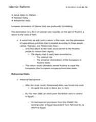 HIST 151 Lecture Notes - Mohammed Abdu, Sharia, Al-Azhar University