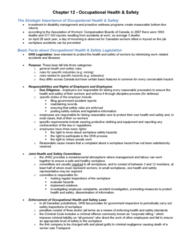 BU354 Chapter Notes -Workplace Hazardous Materials Information System, Safety Data Sheet, Occupational Safety And Health
