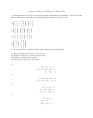 MATH 1502 Study Guide - Augmented Matrix, Row Echelon Form, Linear Independence