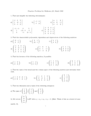 MATH 1502 Study Guide - Diagonalizable Matrix, Invertible Matrix, Row And Column Spaces
