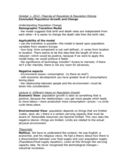 GGR100H1 Lecture Notes - Malthusianism, Demographic Transition, Industrial Revolution