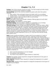 CHEM 1F92 Lecture Notes - Isolated System, Heat Capacity, Closed System