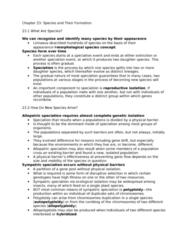 BIOL 3070 Lecture Notes - Sympatric Speciation, Allopatric Speciation, Reproductive Isolation