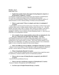 PSY100Y5 Study Guide - Midterm Guide: Major Depressive Episode, Panic Disorder, Anorexia Nervosa