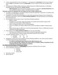 BIOL 1004 Lecture Notes - Zygosity, Population Bottleneck, Genotype Frequency