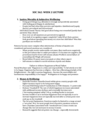 SOC101Y1 Lecture Notes - Easterlin Paradox, Pascal Bruckner, Equity Theory