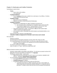 BU451 Lecture Notes - Secured Creditor, Bankruptcy, Oppression Remedy