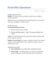 HOSF1095 Lecture Notes - Lecture 4: Malcolm Baldrige National Quality Award, Customer Retention, United Club