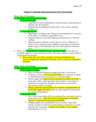 ES295 Lecture Notes - Ecotourism, Indirect Costs, Opportunity Cost