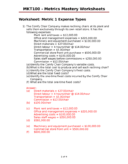 MKT 100 Lecture Notes - Variable Cost, Ski Lift, Fixed Cost