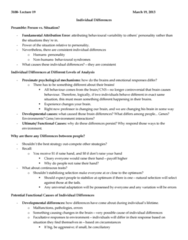 PSYC 3100 Lecture Notes - Lecture 19: Disruptive Selection, Fluctuating Asymmetry, Fundamental Attribution Error
