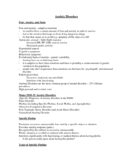 Psychology 2310A/B Lecture Notes - Acute Stress Reaction, Generalized Anxiety Disorder, Panic Disorder