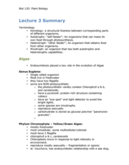 BIOL120 Lecture Notes - Lecture 3: Brown Algae, Xylem, Autotroph