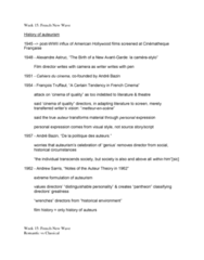 FILM 1701 Lecture Notes - Andrew Sarris, Auteur Theory, Alexandre Astruc