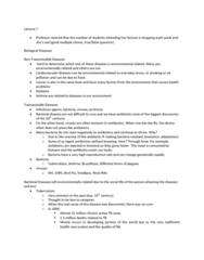 CIVTECH 3CS3 Lecture Notes - Lecture 7: Sepsis, Asthma, Protozoa