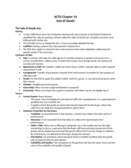 ACTG 2P40 Chapter Notes - Chapter 14: Personal Property, Implied Warranty, The Seller